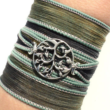 Bohemian Silk Wrap Bracelet Yoga Jewelry Tree of Life Wisdom Earthy Etsy Gift For Her Mothers Day Unique Gift Under 50 Item Y84