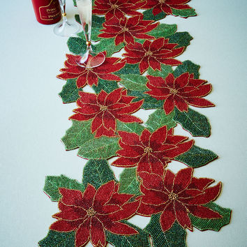 Poinsettia Beaded Table Runner - Divine Designs USA