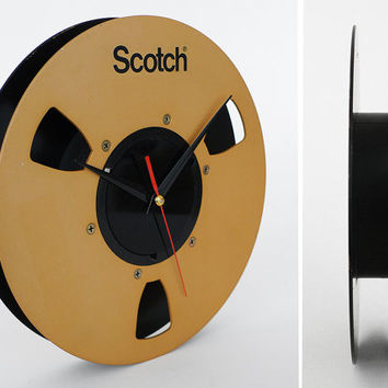 Vintage Scotch Tape Reel Clock / Upcycled Gold Black Decor