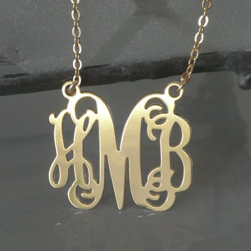 Gold Monogram Pendant - 1.25 Inch Personalized Design - 18k Gold Plated Free shipping Christmas Gift