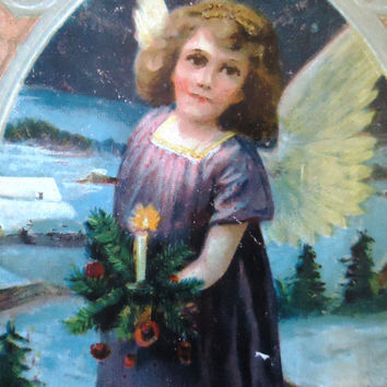 Antique french postcard - Angel card, Christmas, tree, candle, edwardian victorian, drawing, print, 1920, vintage postcard