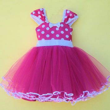 MINNIE  dress TUTU  Party Dress  in Hot pink Polka Dots super twirly  dress 1st Birthday party
