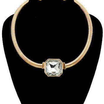 "12"" gold crystal layered choker bib collar necklace earrings ribbed"