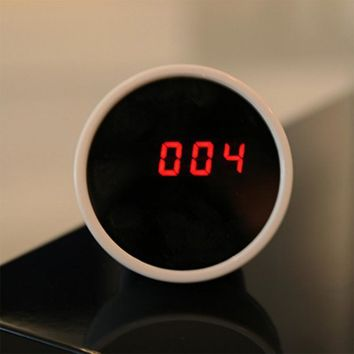 Novelty Creative Desktop LED Mirror Clock Mirror Surface LED Clock Night Light Electronic Alarm Clock Mini Desktop Clock