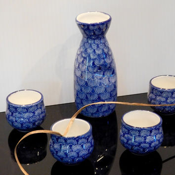 Sake Set Japanese Porcelain 5 Pieces, KAFUH Pottery, 4 Cups, 1 Sake Jugs, Vintage .. Just So Beautiful, Perfect For a Fun Fall Night!!