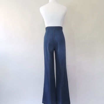 MAY SALE Vintage 1970s Bell Bottoms High Waist wide leg Jeans Flare Pants 70s Big Yank Jeans Womens Denim Palazzo Pants Disco Womens Jeans S
