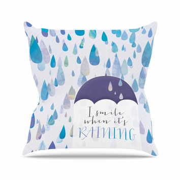 """Noonday Design """"I Smile When Its Raining"""" Blue Purple Outdoor Throw Pillow"""