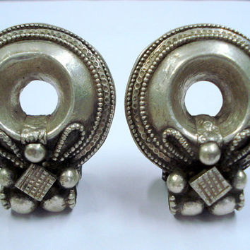 rare ancient antique collectible tribal old silver ear plug earrings gypsy hippi