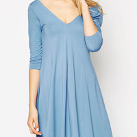 V-neck 3/4 Sleeve Loose Swing Mini Dress