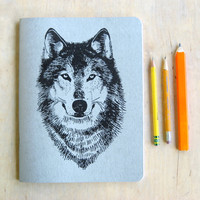 Large Silver Wolf Sketch Book,  Blank Paper, metallic book cover, offset printed in Portland Oregon, woodland holiday art journal werewolf