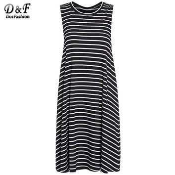 Woman Summer New Arrival Casual Style Ladies Korean Brand Dresses Crew Neck Black White Striped Sleeveless Mini Dress