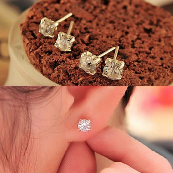 Korean Accessory Alloy Crystal Gemstone Earrings [10417793044]