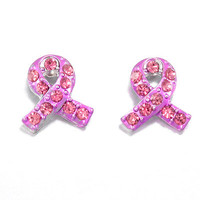 Pink Breast Cancer Stud Earrings