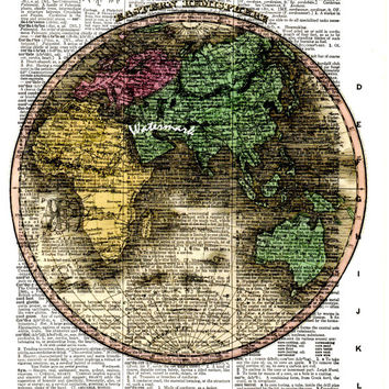 Eastern Hemisphere - 1824 - Historical Map - Vintage Dictionary Decorative Art Print - Page Size 8.5x11