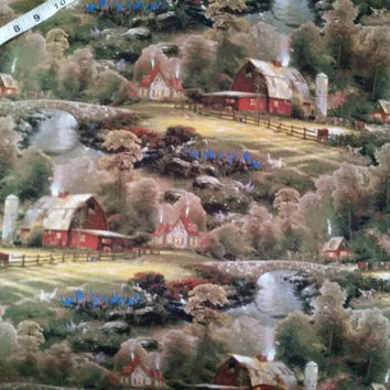 Thomas Kinkade fabric farm barn country cotton print quilt quilting sewing material to sew crafting by the yard baby