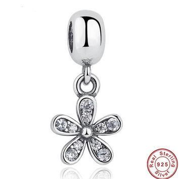 Classic 925 Sterling Silver Dazzling Daisy Clear CZ Charms And Pendant Fit Necklace &
