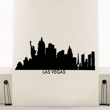 Wall Decal Vinyl Sticker Las Vegas Skyline City Scape Silhouette Decor Sb136