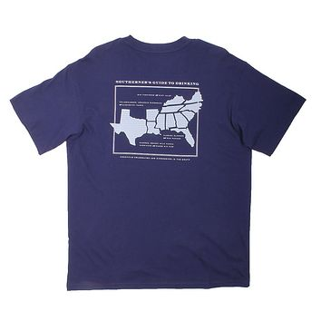 Guide to Drinking Tee in Navy by Southern Proper