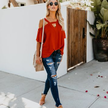 Mariner Cold Shoulder Top - Rust
