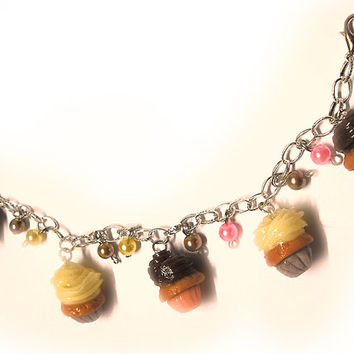Cupcake bracelet in porcelain chocolate and vanilla taste with colored beads handmade without molds for greedy people, birthday gift idea