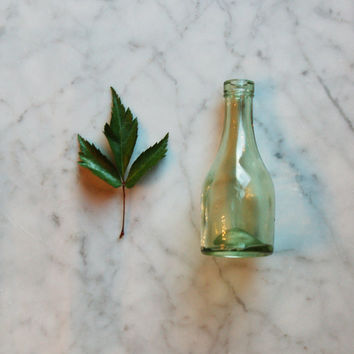 Small Bud Vase / Vintage Green Glass / Tiny Bottle