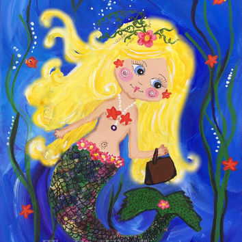 Mermaid Shopping-Digital Download, ocean, under the sea, girl's bedroom, wall door, children art, kids art, whimsical, bright, blue, yellow,