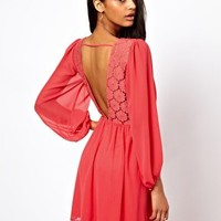 ASOS Wrap Dress With Blouson Sleeve & Lace Back at asos.com