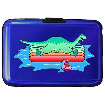 Brontosaurus Dinosaur On Floating Raft In the Ocean Fun Cute - 3D Color Printed Blue Aluminum Hard Credit Card Wallet …