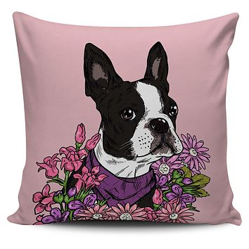 Illustrated Boston Terrier Pillow Cover