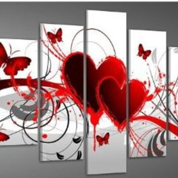 Hand-painted Wood Framed Oil Wall Art Red Flower Love Butterfly Home Decoration Abstract Landscape Oil Painting on Canvas 5pcs/set