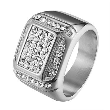Stainless Steel Mens Ring Wedding Engagement Pinky Ring Simulated Diamonds