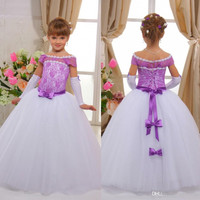 Off Shoulder Purple Flower Girls' Dresses For Weddings Bow Lace Kids Formal Wear Little Girl's Ball Gown Communion Dress FG12