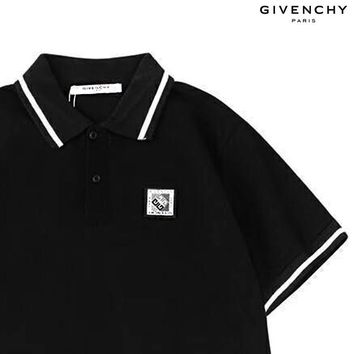 Givenchy 2019 new embroidered chest logo lapel POLO shirt Black