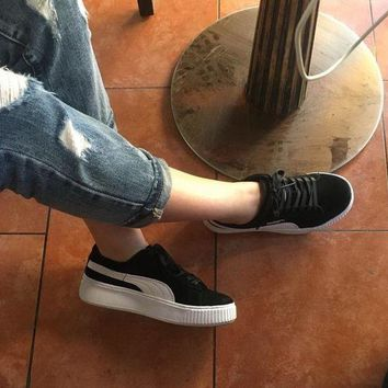 DCCKIJ2 Puma Rihanna Casual Suede Creeper Flatform Shoes Black White