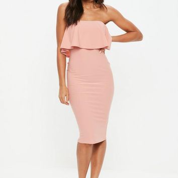 Missguided - Rose Bandeau Frill Midi Dress