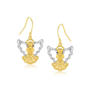 Two-Tone Angel Drop Earrings in 10K Gold