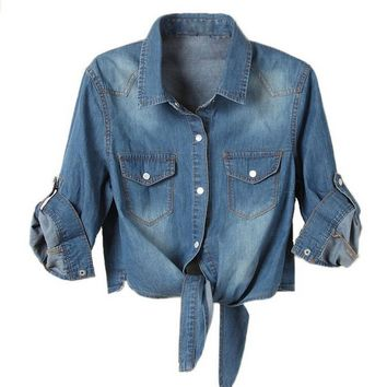 Women's Comfortable Cropped Denim Short Tie Front Shirt