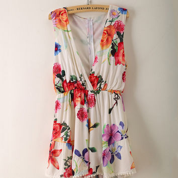 White Floral Deep V-Neck Sleeveless Pleated Romper