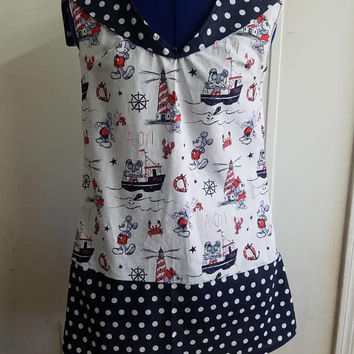 Mickey - mouse - minnie - mouse - Nautical - theme - sailor - pinup - rockabilly  - retro - vintage - style - dress - with - polka - dot