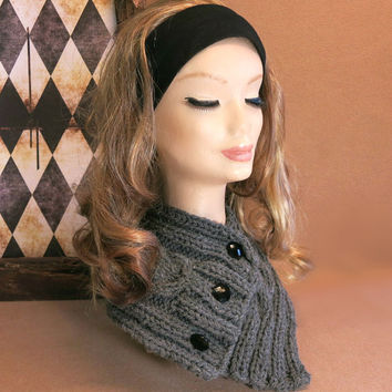 Neckwarmer, Knitted Neck Warmer, Chunky Knit, Cable Knit Scarf, Dark Grey, Cowl Winter Scarf, Wool, Neck Shawl, Nchanted Gifts, Australia