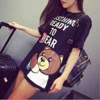 Fashion loose print Cartoon bear short sleeve T shirt skirt