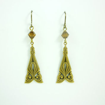Simple Antique brass nouveau earring with brown Swarovski Crystals by VictorianFolly