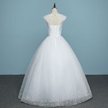 Spring Wedding dress White Bride Frocks Princess Gowns Design Bridal With Pears Sequined Appliques