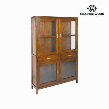 Display Cabinet With Double Glass Doors Wood / Walnut - Nogal Collection by Craftenwood