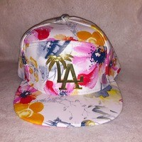 Los Angeles Dodgers Palm Trees custom floral leather strapback from Kno Idea Vintage & Custom
