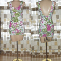 Vintage 80s Floral Abstract Body Con Stretch Mini Tank Dress M Medium