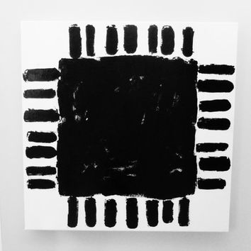 Abstract Painting LARGE Abstract Painting Canvas Original Black White Square Abstract Painting Modern SQUARE SUN Painting Sun Art 24 x 24