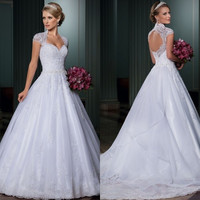 Vestido de noiva ball gown wedding dresses open back sexy vestido de casamento detachable train bridal gown 2014 robe de mariage = 1933056644