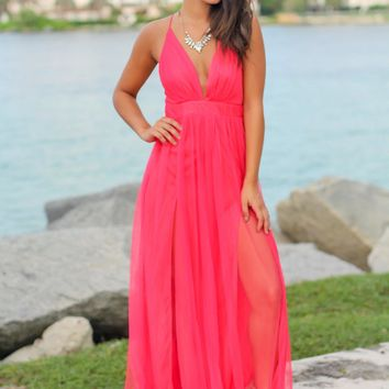 Watermelon V-Neck Tulle Maxi Dress with Criss Cross Back