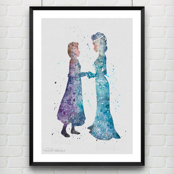 Elsa and Anna Disney Frozen Watercolor Print, Princess Room Watercolor Poster, Minimalist Home Decor, Not Framed, Buy 2 Get 1 Free! [No. 40]